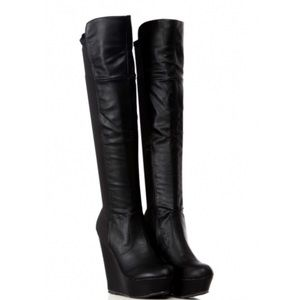 Platform Wedge Thigh-High Mixed Media Boot